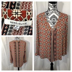 Rose & Olive Tribal Print Blouse